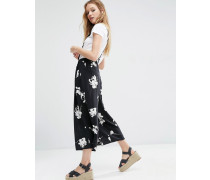 Hosenrock mit Blumenmuster und Hosenträgern Mehrfarbig