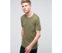 T-Shirt in Khaki mit Tasche Grün