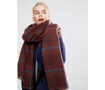 Langer flauschiger Oversize-Schal mit braunem Karomuster Braun