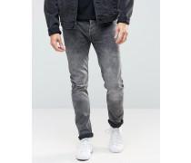 Enge Stretch-Jeans in verwaschenem Grau Grau