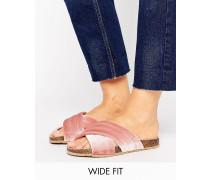 New Look Flache Sandale mit dicken Kreuzriemen aus Samt Rosa