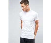 Langes Muskel-Polohemd in Weiß Weiß
