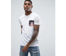 Hawaii-T-Shirt mit Brusttasche Weiß