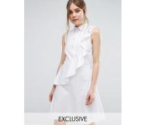 Closet Hemdkleid mit Rüschen Weiß