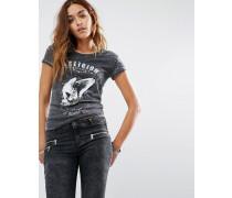Shrunken T-Shirt mit Aufdruck We Live in Black Skull Schwarz