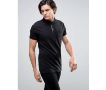 Einfarbiges Jersey-Poloshirt mit Kontrastleiste Schwarz