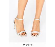 New Look Glitzernde, filigrane Sandale mit Absatz in breiter Passform Silber