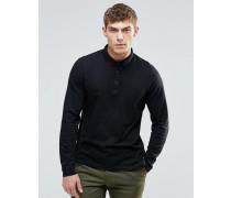 Langärmliges Jersey-Polohemd in Schwarz Schwarz