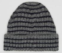 Gestreifte Beanie in Grau-Marineblau Grau