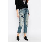 Larak Boyfriend-Jeans mit hoher Taille, Destroyed-Akzenten und Flicken Mehrfarbig