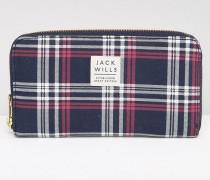 Abingworth Marineblaue Brieftasche mit Rundum-Reißverschluss und Karomuster Mehrfarbig