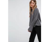 Bluse mit Punktemuster Grau