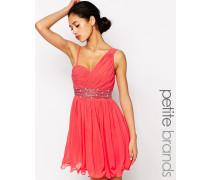 One-Shoulder-Kleid mit verzierter Taille Rosa
