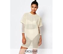 Netzstoff-T-Shirt-Kleid mit Schnürung hinten Beige