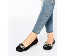 Loafer mit Kette Schwarz