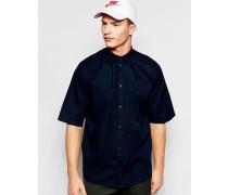 Pointbreak Kurzärmliges, kastiges, locker geschnittenes Hemd in Dunkelblau Marineblau