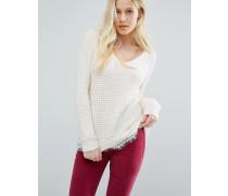 Pullover mit Spitzensaum Cremeweiß