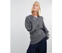 Rippstrick-Pullover mit Ballonärmeln Grau