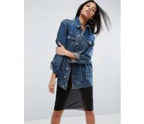 Übergroße Jeansjacke in dunkelblauer Waschung Blau