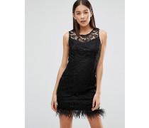 Figurbetontes Kleid aus Häkelspitze Schwarz