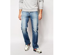 Bootcut-Jeans in Mittelblau Blau