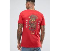 T-Shirt mit Drachen-Print auf der Rückseite Rot