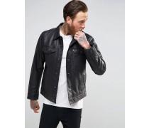 Levi's Trucker-Jacke aus schwarzem Leder Schwarz