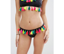 Helles Hipster-Bikinihöschen mit Quaste Schwarz