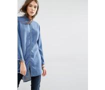 Leichtes Jeanshemd mit abfallendem Saum Blau