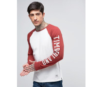 Long Sleeve Baseball Top Sleeve Logo Contrast in White/Red Weiß