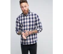 Pearson Kariertes Hemd aus gebürsteter Baumwolle mit Knopfleiste, reguläre Passform Marineblau