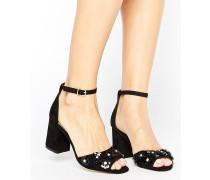 Zweiteilige Sandalen mit 3D-Blume Schwarz