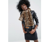 Langer Kunstfellschal mit Leopardenprint Braun