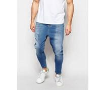 Spray On Hautenge Jeans mit tief sitzendem Schritt Blau
