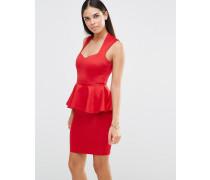 Tief ausgeschnittenes Schößchenkleid in Midilänge Rot