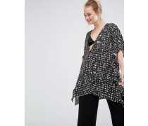 Bedruckte Oversize-Bluse Cremeweiß
