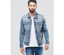 Schmal geschnittene Jeansjacke in mittlerer Waschung Blau