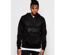 Sweatshirt mit Kapuze und Applikation Schwarz