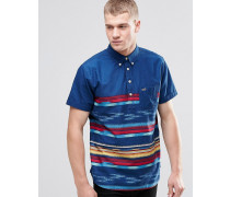 Overhead-Hemd mit kurzen Ärmeln und enger Passform Marineblau