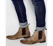 Chelsea-Stiefel aus Wildleder in Taupe Braun