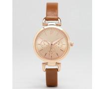 Armbanduhr mit roségoldenen Gliedern Schwarz