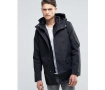 Mantel aus mit Satin verstärkter Baumwolle mit Kapuze Schwarz