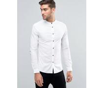 Enges, weißes Hemd mit Grandad-Kragen und Kontrastknöpfen Weiß