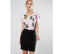 Synthia T-Shirt mit Zitronenblütenmotiv Mehrfarbig