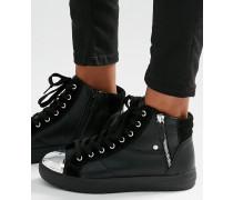 Hohe Sneaker mit Reißverschluss Schwarz
