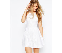 Neckholder-Minikleid aus Spitze mit Kontrastfutter Weiß