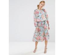 Kleid mit Kordelzug und aufgedruckten Bommeln Mehrfarbig
