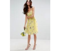 Wedding Gerüschtes Minikleid mit Blumenmuster in Sonnengelb Mehrfarbig