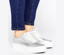 Flache Sneaker in Metallic Silber