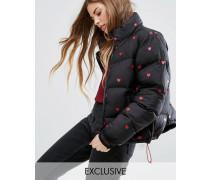 Wattierte Jacke mit Herzmotiv Schwarz